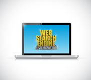 Laptop web search engine optimization sign Royalty Free Stock Images