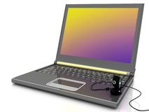 Laptop with a webcam Stock Photo