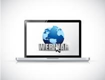 Laptop and webinar sign illustration design Stock Photo