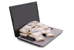 Laptop on white Stock Images