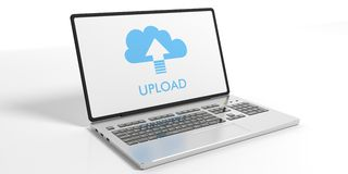 Laptop on white background - Upload cloud concept. 3d illustration. Laptop on white background - Upload cloud on the screen. 3d illustration Stock Photo