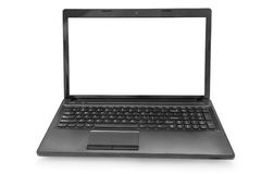 Laptop with white monitor. On a white background isolated royalty free stock images