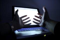 Laptop in white screen. Royalty Free Stock Photos