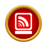 Laptop and wi fi sign icon, simple style Royalty Free Stock Image