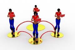 Laptop Wifi-Übertragung der Frauen-3d Lizenzfreies Stockbild