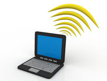 Laptop With Wifi Stock Photo