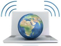 Laptop, wifi and globe. Stock Photography