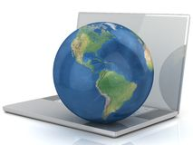 Laptop, wifi and globe. Stock Image