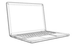 Laptop. Wire frame Stock Photography