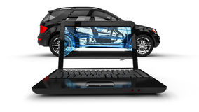 Laptop Wire Frame SUV Royalty Free Stock Images