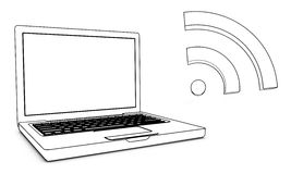 Laptop with wireless. On wite background Stock Photos