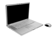 Laptop with the wireless mouse Stock Images