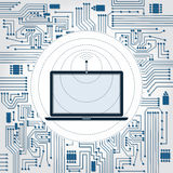 Laptop, wireless wave and electronics circuit. Electronics circuit background. Laptop with antenna with wave emissions Stock Photo