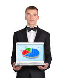 Laptop wirth chart. Businessman in tuxedo holding laptop wirth chart Stock Image