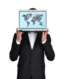 Laptop wirth world map Stock Photo