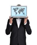 Laptop wirth world map. Businessman in tuxedo holding laptop wirth world map Stock Photo