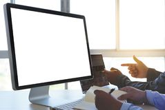Free Laptop With Blank Screen On Table. Workspace Background New Proj Royalty Free Stock Photo - 119372845