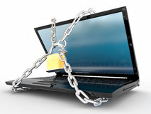 Laptop With Chains And Lock Royalty Free Stock Photos