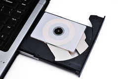 Laptop With Loaded DVD Drive Stock Image
