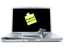 Laptop With Sticky Note And Tool Royalty Free Stock Image