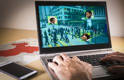 Free Laptop With Street Image And Facial Recognition In China Stock Photo - 115899830