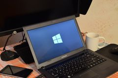Free Laptop With The Operating System Logo Displayed On The Screen Windows 10. Stock Image - 112901351