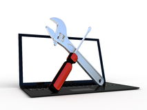 Laptop With Tools Stock Photo