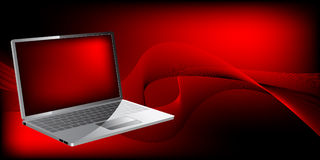 Laptop With Waves Stock Photo