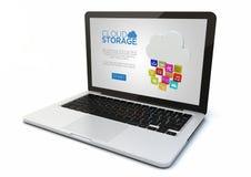 Laptop wolkenopslag Stock Foto