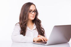 Laptop woman. Business Woman  with glasses using laptop computer pc. Stock Photography