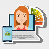 Laptop woman chart color images Royalty Free Stock Photography