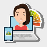 Laptop woman chart color images Stock Images
