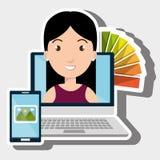 Laptop woman chart color images Stock Photo