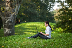 Laptop woman Stock Images