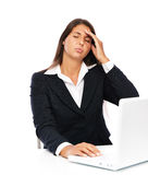 Laptop woman stress and headache Stock Images