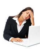 Laptop woman stress and headache Stock Photos