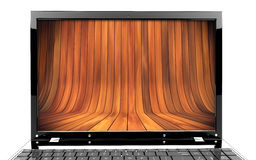 Laptop with wood Royalty Free Stock Images