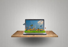 Laptop on wood shelf. Laptop with yellow flower,grass and butterfly on wood shelf stock photos