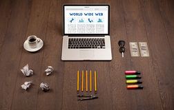 Laptop on wooden desk with office suplies Royalty Free Stock Photos