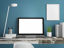 Laptop on wooden table, Blue wall painted, 3d illustration Stock Photo