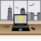 Laptop on the wooden table in the modern office with big windows in city center eps10. Laptop on the wooden table in the modern office with big windows in city royalty free illustration