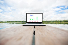 Laptop on wooden table Stock Photo