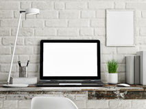 Laptop on wooden table, white brick wall vector illustration