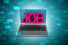 Laptop with the word job Stock Photo