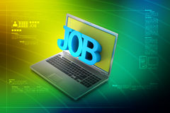 Laptop with the word job Royalty Free Stock Images
