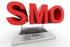 Laptop with a word SMO on a screen. Stock Images