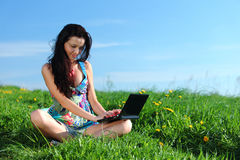 Laptop work in field Royalty Free Stock Photos