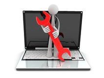 Laptop and worker Royalty Free Stock Images