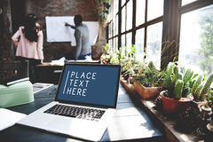 Laptop Working Technology Commercial Copy Space Concept.  Stock Photography