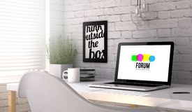Laptop workplace forum. Workplace with laptop. forum web on screen. All screen graphics are made up Royalty Free Stock Photo
